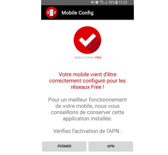 Mobile Config permet de configurer automatiquement le smartphone pour une utilisation du réseau Free Mobile