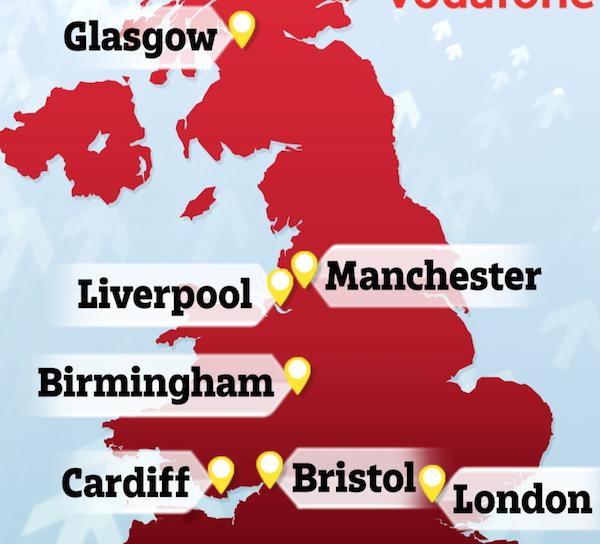 7 villes britanniques sont désormais couvertes par la 5G Vodafone