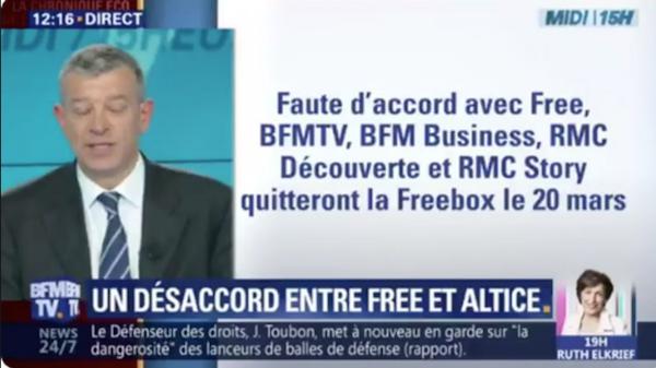 Free n'a pas respecté l'interdiction de diffusion des chaînes du groupe BFM TV